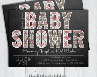 Printable Winter Baby Shower Invitation -- Pink Ugly Christmas Sweater Chalkboard Shower Invitation -- PNG & JPG