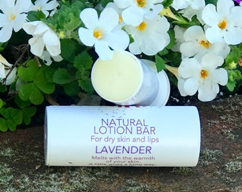 LAVENDER Natural Lotion Bar Tube, Solid Body Butter