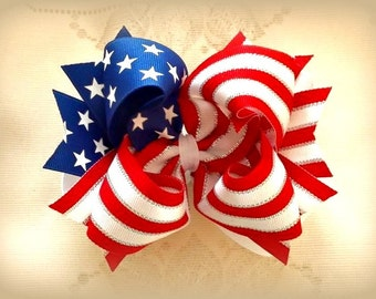 Flag Hair Bow...Patriotic Hair Bow..Flag Bow.. Red White and Blue Bow....July 4th Hair bow...4th of July Bow.