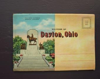 Vintage Dayton, Ohio Souvenir Postcard Foldout Folder