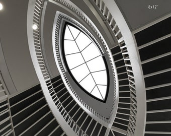 Chicago Architecture- Spiral Staircase at Contemporary Art Museum, Abstract Black and White Print, Surreal Decor, Inspirational Modern Art