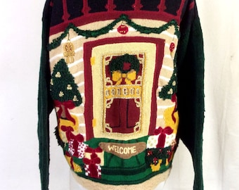 vtg 90s The Eagle's Eye Ugly Christmas Sweater X-Mas Houses Welcome Mat sz XL
