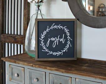 Framed Rustic Joyful Farmhouse Sign - Joyful Sign - Grateful Thankful Blessed Sign - Gratitude Sign - Gallery Wall Sign- Rustic Wood Sign