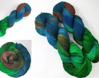 Mineral Ridge - Hand dyed Yarn - 100g choose your base - knitting crocheting weaving quick knit - Blue brown green - wool or gotten or vegan