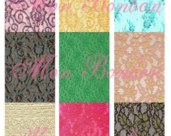 Digital Download of 9 AtC sized Colorful Lace Backgrounds -DIY Printable - INSTANT DOWNLOAD