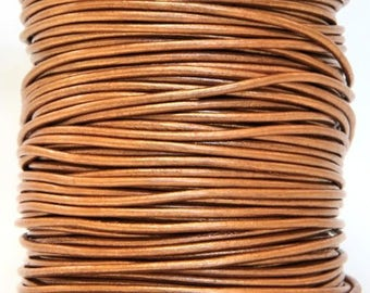 Round Leather Cord 1.5 mm Diameter Metallic Bronze Color 50 Meter Spool