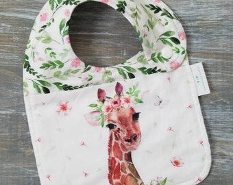 NEW item: Infant Drool Bib- Floral Giraffe