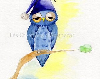 Watercolor humorous series on owls: Good night