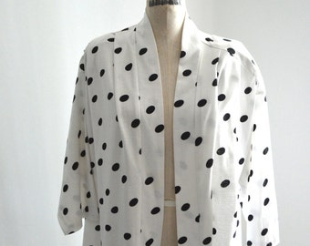 Oscar De La Renta Cotton Black and White Polka Dot Print Vest Jacket 80s