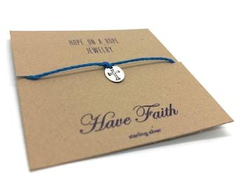 Cross Bracelet - Faith Bracelet - Have Faith - Religious Bracelet - Christian Gift - Cord Bracelet -Sterling Silver Cross Charm - Hand Stamp