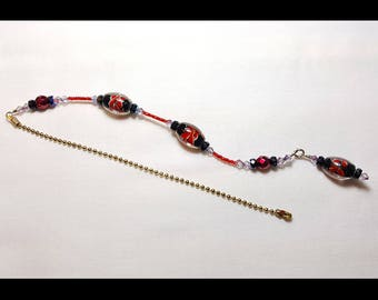 Red and Black Floral Crystal Beaded Fan Pull Brass Chain