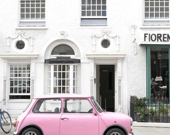 London Portobello Road Pink Car, Travel Photography, Home Decor, Art Print, Wall Gallery