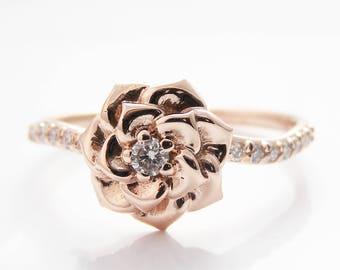 Camellia Flower Ring 14K Rose Gold Diamond Ring Rose Gold Engagement ring Diamond Ring