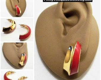 Monet Red Band Half Hoop Pierced Stud Earrings Gold Tone Vintage Folded Wide Band Polished Smooth Curved Dangles Surgical Steel Post