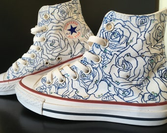Converse All Star Rose Blue sneakers, hand painted, custom Rose Blue