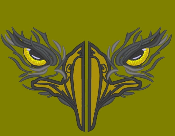 Eagle Face Applique Split For Hoodie Front Embroidery