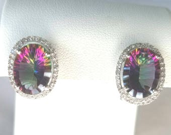 Vibrant Sterling Silver Mystic and White Topaz Large OvalHalo Omega back Earrings