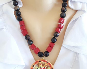 Ceramic Necklace Caltagirone, red coral and Jasper