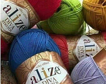 Alize Diva Stretch elastic microfiber acrylic yarn spring summer extra soft yarn for knitting crochet dress top for swimwear sport weight