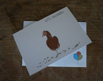 Hen // Let's Celebrate! // Greetings Card