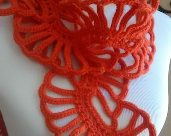 Lace Art Scarf, Flower Scarf, Tangerine Scarf.