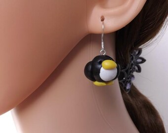 Adorable penguin earrings, handmade fimo penguin earrings, clay earrings, sterling silver ear wires