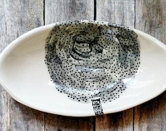 Wabisabi Tree Bowl - Grey White Black - Oval