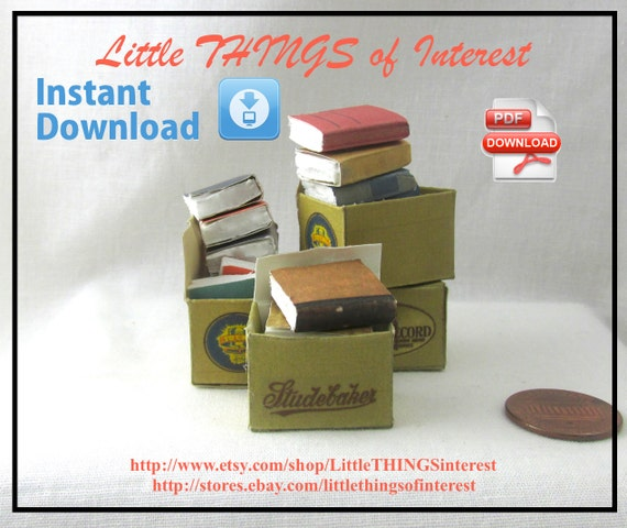 Dollhouse Doll OLD Miniature BOOKS in a BOX Tutorial and Print Dollhouse 1:12 Scale Miniature 3
