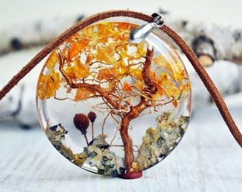 Terrarium-Halskette, Harz - Harz-Anhänger, Eco-Harz-Halskette - Boho --Harz-Blumen-Halskette - Natur inspiriert Halskette