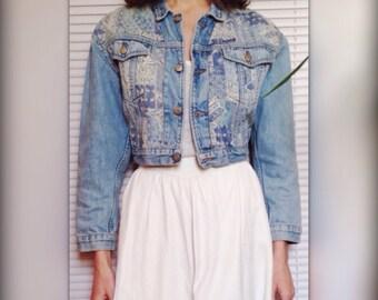 CIMARRON short jacket printed denim vintage 90s (38 - S/M)