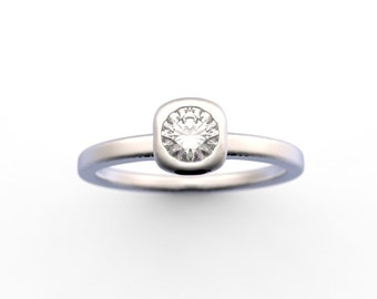 14K Minimalist Diamond Ring Bezel Set 0.29 Ct. G-H/VS