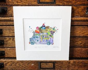 Ice Cream Truck in Purple - Illustration