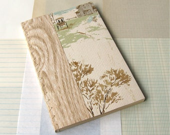 Handmade Blank Journal with Vintage Wallpaper Cover Assorted Vintage Papers Inside Country Scene 8.5x5.5""