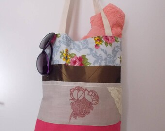 Tote bag retro blue with textile printing