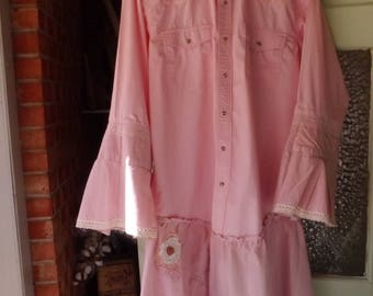 One-Of-A-Kind Unique Cowgirl Chic Farmgirl Boho Hippie Pink Refashioned Wearable Art Tunic Shirt Duster Jacket