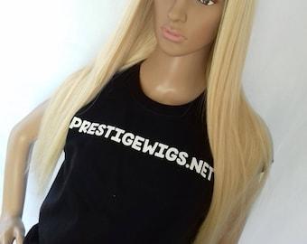 Human hair wig- Prestige range clip in U part hair addition, lightest blonde, 26 inches long, 250g, standard size/XS