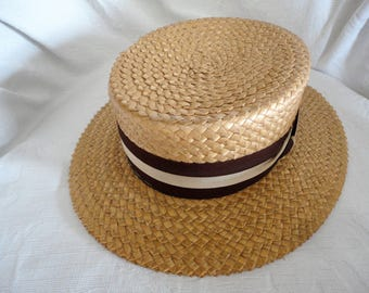 Panama Straw Boaters Hat Meadowbrook Skimmer Hat Size 7 Vintage Men's Accessory