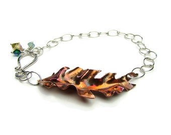 Feather Flame Patina Copper Bracelet with Sterling Silver Chain And Crystal Accents - Mixed Metal Bracelets - Boho Bracelet