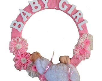 Baby Shower Wreath- Pink and White Baby Girl, Yarn Wreath with Platypus Toy