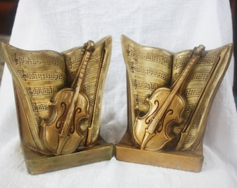 Vintage Pair LEGO Ceramic Sheet Music and Violin Bookends