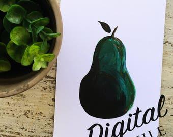 Printable Pear Artwork - Digital Art Print - Wall Art - Wall Decor