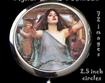 John Waterhouse Paintings - Digital Download, 2.5 inch circles on 8.5 x 11 paper, printable images for mirrors, cards, crafts