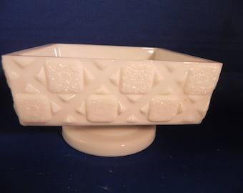 Vintage Pedestal Dish Milk Glass By Westmoreland Quilt Pattern