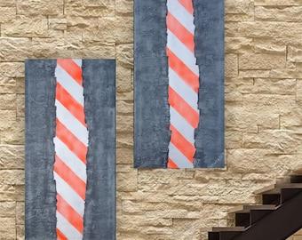 Caution stripe steel Abstract Painting vertical textured wall art A186 Acrylic Original Contemporary Art KSAVERA mid century modern art