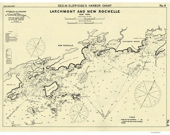 Larchmont and New Rochelle 1907 Harbor Nautical Chart - New York - Eldridge 4 - Reprint