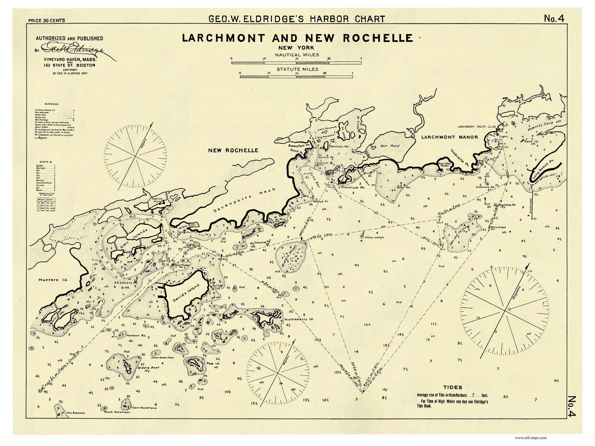 Larchmont and new rochelle 1907 harbor nautical chart new zoom nvjuhfo Choice Image