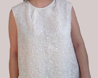 Tunic with embroidered tulle