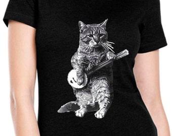 cat shirt - banjo shirt - cat tshirt - cat gifts - cat lover gift - cat lady - cat lover - music gift - womens tshirts - BANJO CAT-crew neck