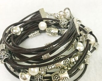 Double wrap 8 strands Leather bracelet with metal charms