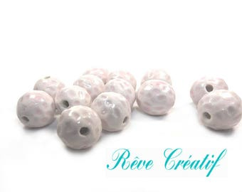 5pcs Perles Rondes en Céramique émaillée Blanc et Rose 18mm